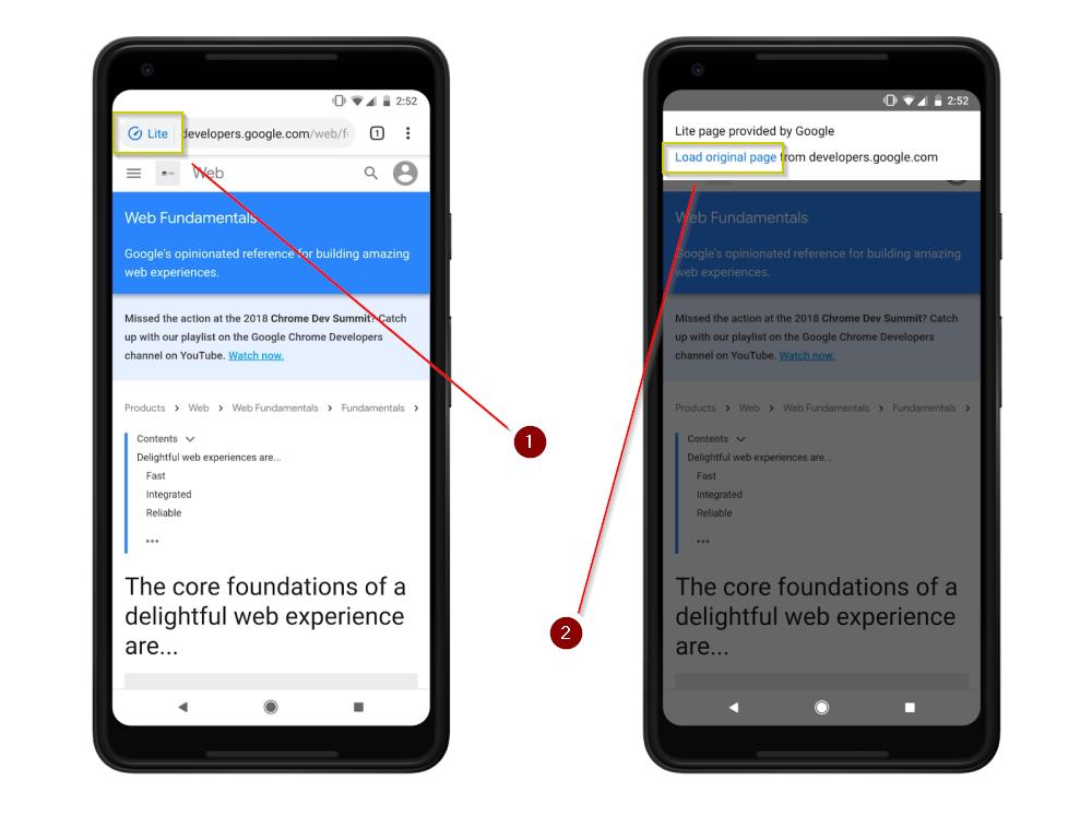 Gambar Mode Lite Atau Ringan Browser Google Chrome Android Atau IOS Dan Bagaimana Memuat Halaman Aslinya